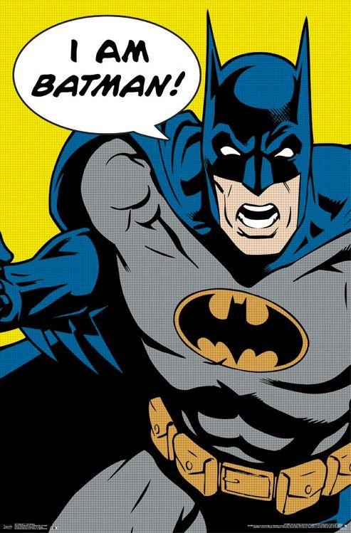 Details about batman art poster i am batman 22x34 dc - Cuadros pop art comic ...