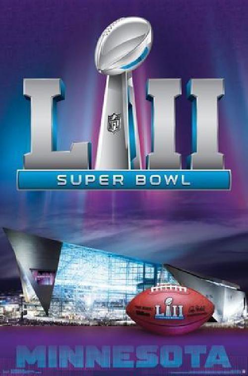 Super Bowl 52 Lii Art Logo Wall Poster Nfl Football Game Minnesota 02 04 2018 Amscan Super Bowl Super Bowl 52 Nfl Football
