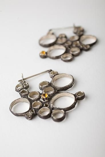 """Condensation Earring with Yellow Topaz""  Silver & Stone Earrings Created by Monique Rancourt"
