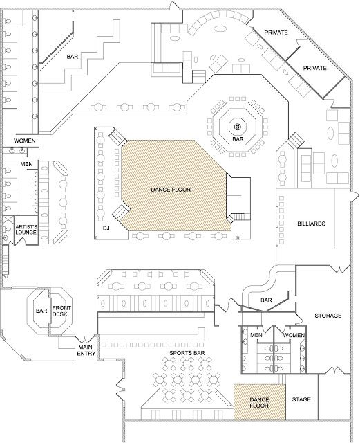 Bar And Nightclub Floor Plans1 Bar Flooring Nightclub Design Restaurant Floor Plan