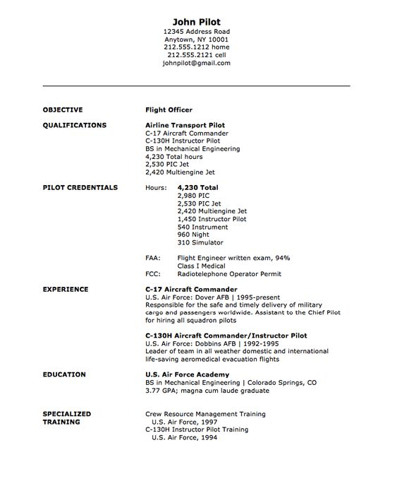 Military Flight Officer Resume Sample - http\/\/resumesdesign - pilot resume