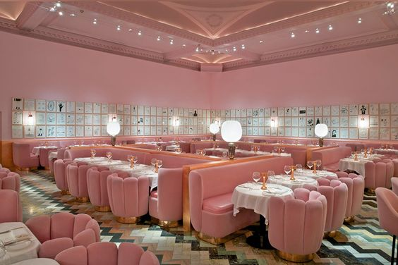 Sure, the food there is great, but Sketch in London is also known for its original interior. The restaurant is definitely not afraid of pink. Their velvet upholstering looks fantastic in pink, and the colour is a great match for the tile floor with shades of teal and peach.