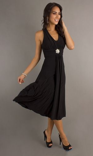 Black Semi Formal Dress Halter Tea Length V Neck Empire Waist ...