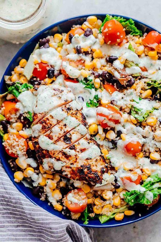 Southwest Chicken Quinoa Bean Salad