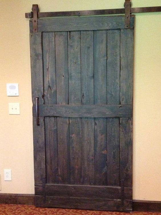 Vintage sliding Barn Door Custom made to fit your by GoodfromWood, $300.00 Close off the TV room