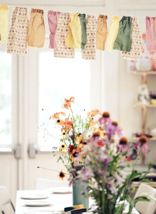 : Wild Flower, Party Banners, Fabric Garlands, Fabric Banners, Party Decoration, Fabric Scraps, Party Ideas, Scrap Bunting