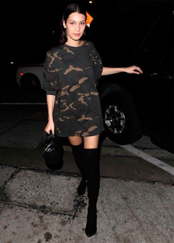 bella hadid usa otk boots com moletom oversized: