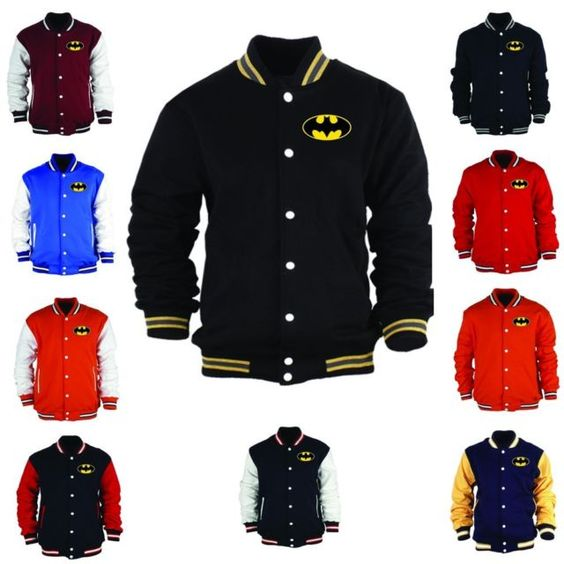 New Batman Logo Baseball Jacket Superhero Collage Varsity ...