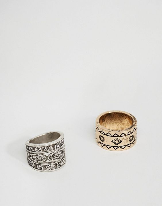 ASOS+Aztec+Ring+Pack+In+Burnished+Gold