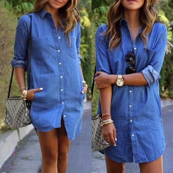 Vogue Women Long Sleeve Denim Loose Mini Shift Dresses Fashion Short Hot Dress