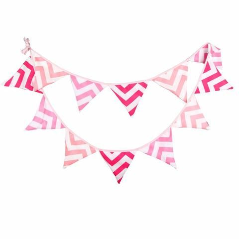 Pink Cotton Bunting Flags for Baby Nursery, Chevron Light Pnk & Hot Pink Dots