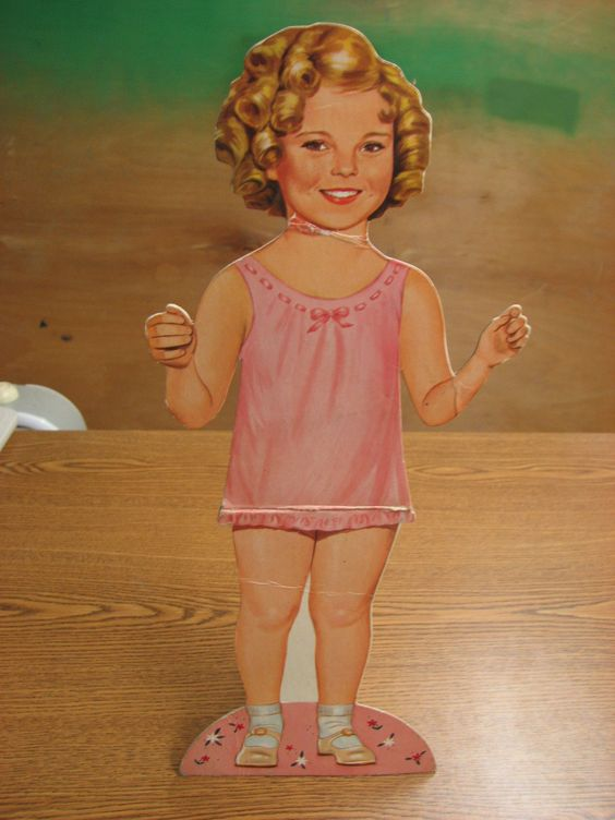 "Vintage Shirley Temple 18 1 2"" Cardboard Folding Doll with Easel 