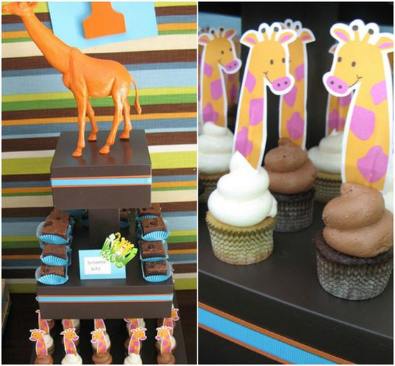 love the painted giraffee on top.   #jungle #baby shower