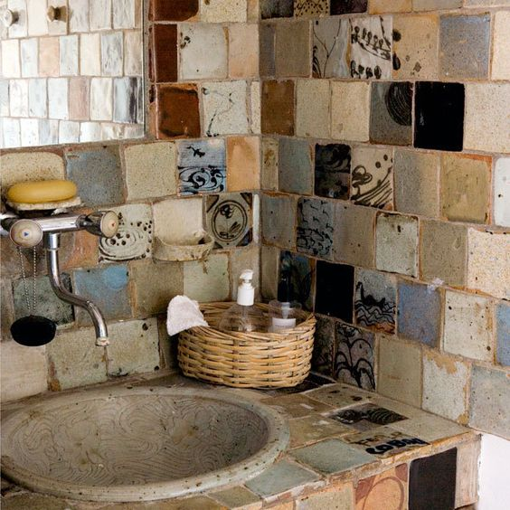 Assorted Tile Backsplash. In a half bath or small space I would love this look! And so green!!!