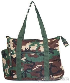 Extra Large Green Camouflage Shopping Tote Bag