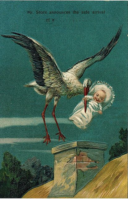 antique postcard stork and baby - Google Search: