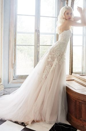 Sweetheart A-Line Wedding Dress  with Natural Waist in Tulle. Bridal Gown Style Number:33371311: