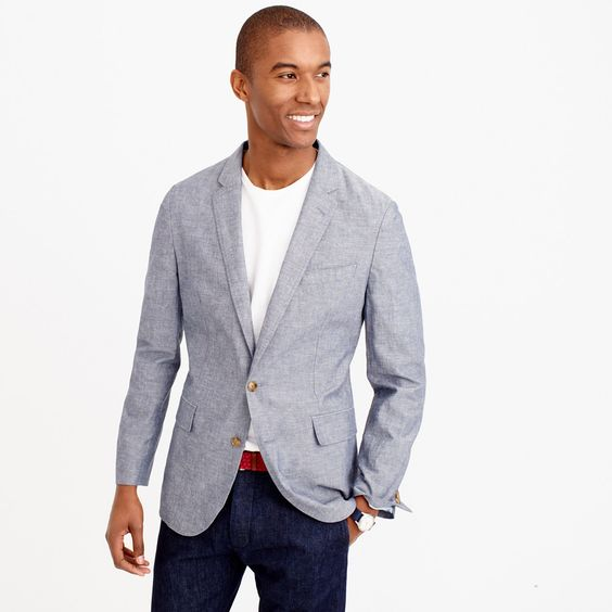 Ludlow summerweight cotton-linen blazer in deep water : blazers ...