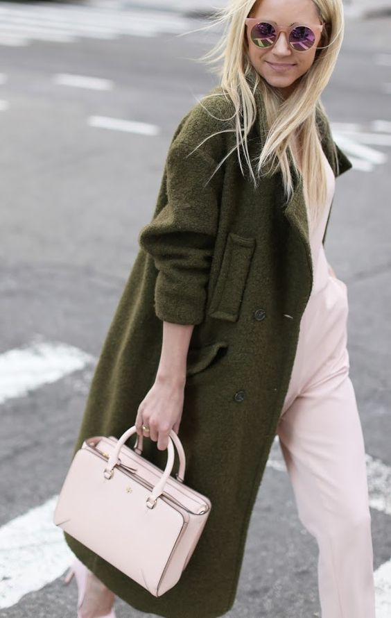 Atlantic-Pacific | Blair Eadie | rose quartz | khaki coat | street style | fashion blogger: