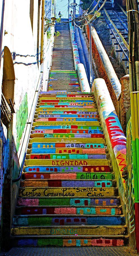 Escaleras en Valparaiso, Chile