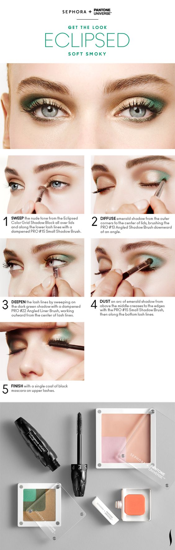 Get the Look: Bionic Soft Smoky Eyes HOW TO #Sephora #Emerald #ColoroftheYear @PANTONE COLOR