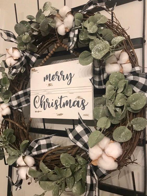 Chritmas Wreath | Farmhouse Inspired | Buffalo Check | Cotton Wreath | Farmhouse Christmas | Neutral