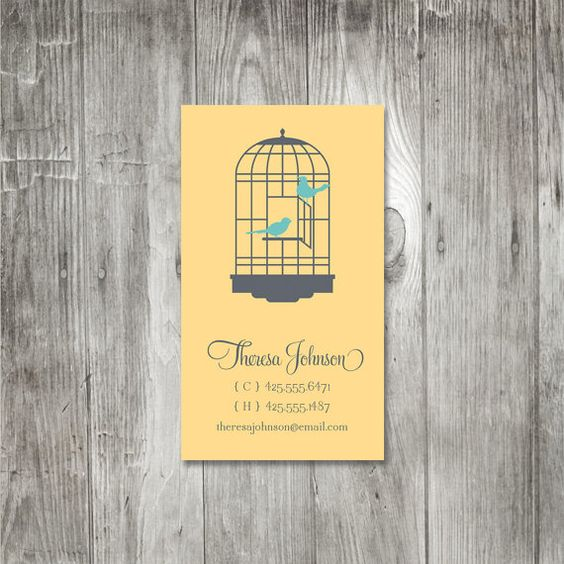 Birdcage Calling Card by pinklilypress on Etsy, $12.50