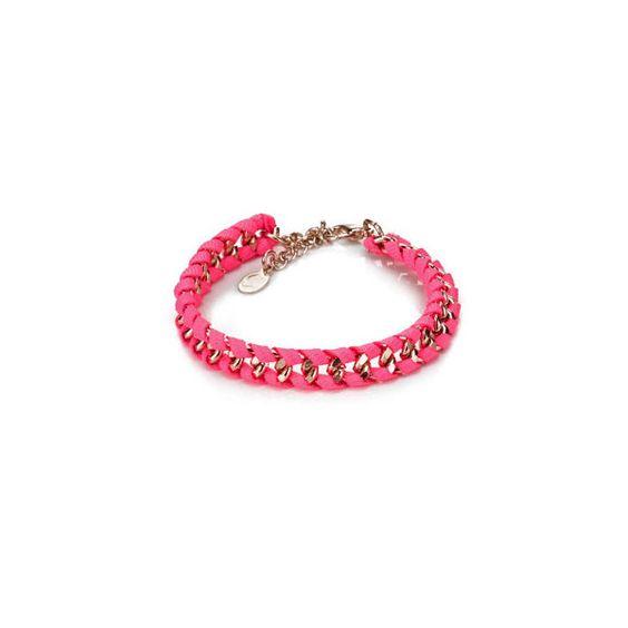 Neon Ribbon Chain Bracelet found on Polyvore