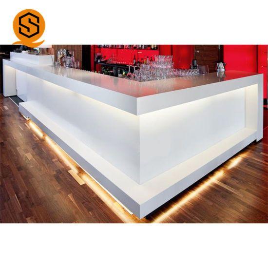 Hot Item Rgb Marble Bar Counter Top Restaurant Counter Top Lighted Acrylic Bar Counter In 2020 Bar Counter Design Bar Furniture Bar Furniture For Sale