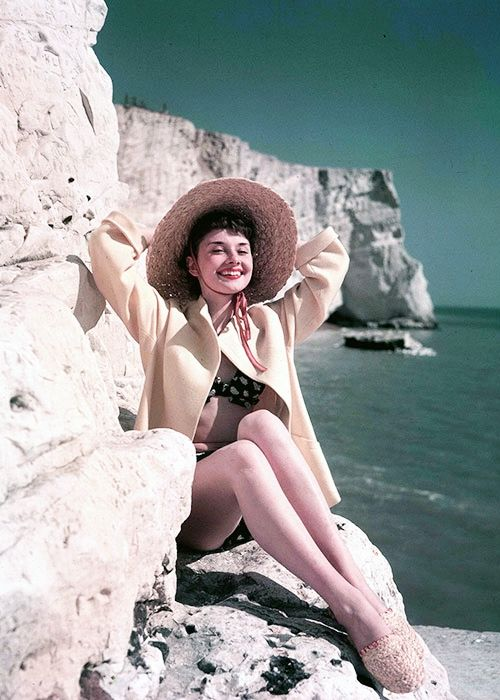 Audrey Hepburn at the beach in Rottingdean, East Sussex in England, 1951, photographed by Joseph McKeown
