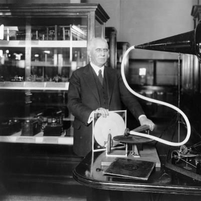 Here is Emile Berliner along with his famous invention, the disc gramophone, for which he was granted a patent in 1887. He also invented the method of pressing discs to make mass manufacture possible. Although it is monaural, I included it because this is where it all began. Over a century later, many still feel analog discs are the best sound. Today's passion for LP records and classic turntables began with Berliner's dislike of the cylinder phonographs invented by Thomas Edison