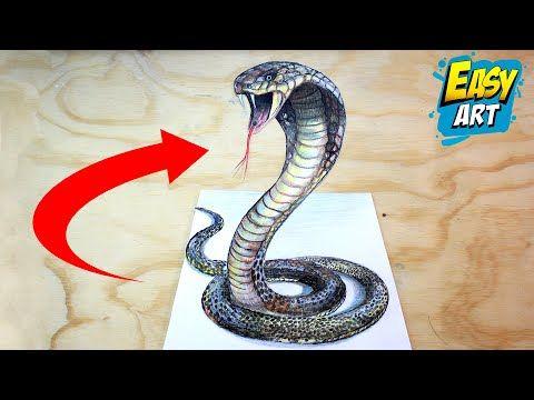 How To Draw A 3d Snake Como Dibujar Una Culebra 3d Ilusion