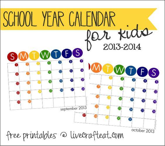 Calendar Organization Number : Kids school year calendar free printable
