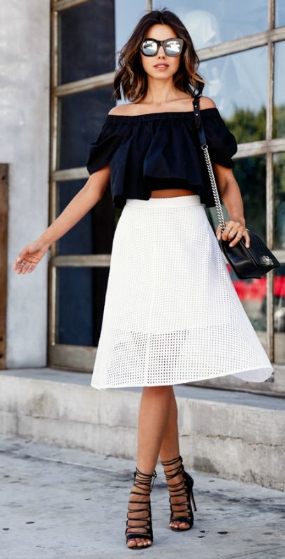 What to wear with a white eyelet pencil skirt – Fashionable skirts ...