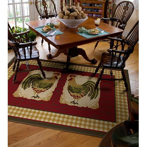 Kitchen Table On Rug: Orian Country Rooster Spanish Rug