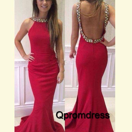 Cute backless red chiffon mermiad prom dress, long evening dress for teens #coniefox