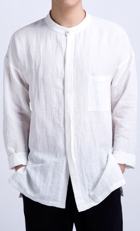 Men/'s Loose Cotton Linen Modern Button Large Size Long Sleeve Hooded Shirts Tops