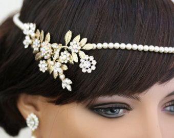 Art-Deco Bridal Kopfstück, Gold Bridal Halo, Blätter, Perlen Stirnband, Stirn band Efeu Kopf Stück