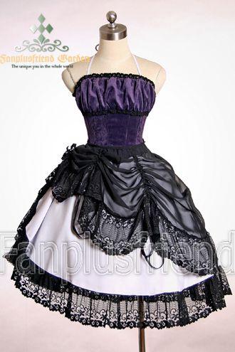 Lolita Troubadour: Boned Corset Dress& Vintage Lace Bustle Pinafore*Knee Length