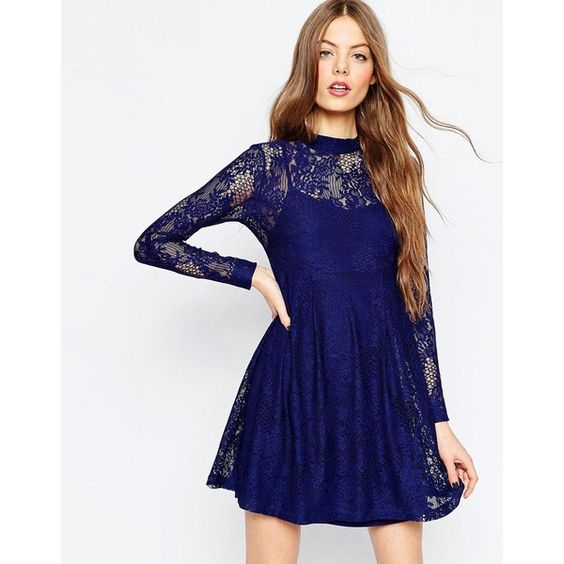 ASOS Lace Babydoll Dress (£17) ❤ liked on Polyvore featuring dresses, navy, baby doll dress, lace babydoll dress, navy blue slip, lace overlay dress and lace slip dress