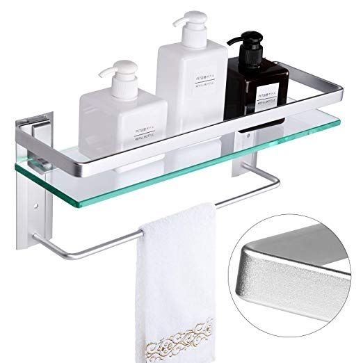 Vdomus Tempered Glass Bathroom Shelf With Towel Bar Wall Mounted