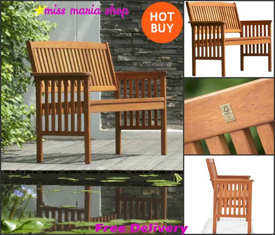 Wooden Garden Bench 2 Seat Patio Furniture Seater Outdoor Pre Treated  Hardwood