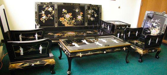 Oriental Living Room Set Furniture Sofa Set Black Lacquer