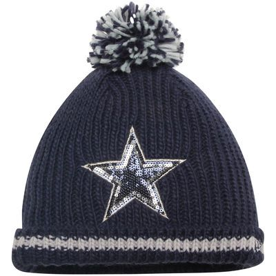 Dallas Cowboys New Era Women s Sequin Frost Cuffed Knit Hat with Pom - Navy 2491b67b831c
