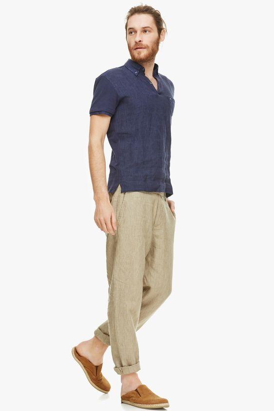 Linen-Cotton Polo Shirt - tees & polos   Adolfo Dominguez