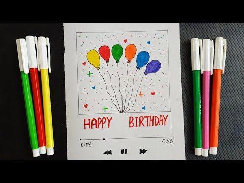 Simple Birthday Greetings Card Diy Birthday Colourful Balloons Card Easy Creative Drawing Birthday Greeting Cards Simple Birthday Cards Greeting Cards Diy