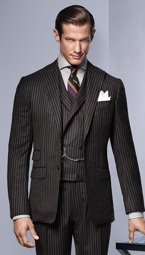 Navy Soft Chalk Stripe Wool Suit II don't wear men's suits, sorry, but I'll take…