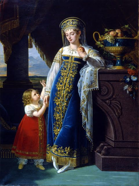 Portrait of the Russian Duchess M.F. Baryatinskaya and her daughter Olga by Robert Lefevre,1817
