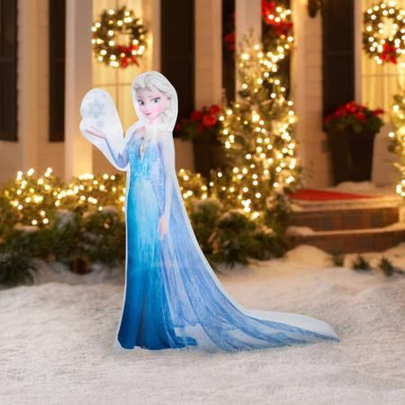 5 39 airblown inflatable photorealistic elsa with snowflake for Air blown decoration