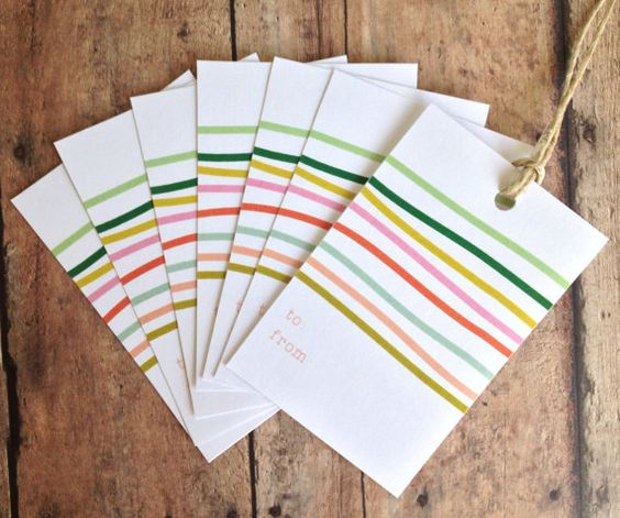 Gift tags modern stripes handmade tags gift by PrintSmitten, $10.25